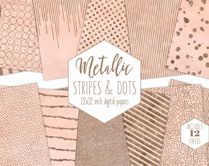 PEACH & ROSE GOLD Digital Paper Pack Stripe Backgrounds Metallic Foil Confetti Wedding Scrapbook Paper Polka Dot Baby Girl Party Clipart