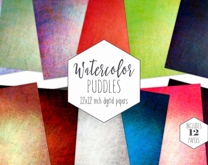 WATERCOLOR TEXTURES Digital Paper Pack Commercial Use Dark Rainbow Backgrounds Bright Watercolour Wash Scrapbook Papers Birthday Clipart
