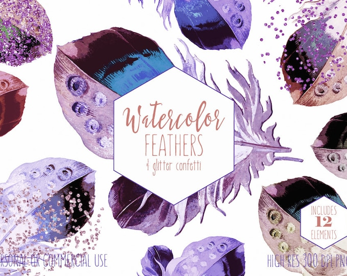 PURPLE WATERCOLOR FEATHER Clipart Commercial Use Clip Art Green Teal Blue Feathers & Purple Metallic Confetti Tribal Boho Chic Graphics