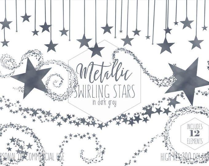 DARK GRAY STAR Clipart for Commercial Use Planner Clip Art Metallic Foil Celestial Borders Frames Night Sky Wedding Party Digital Graphics