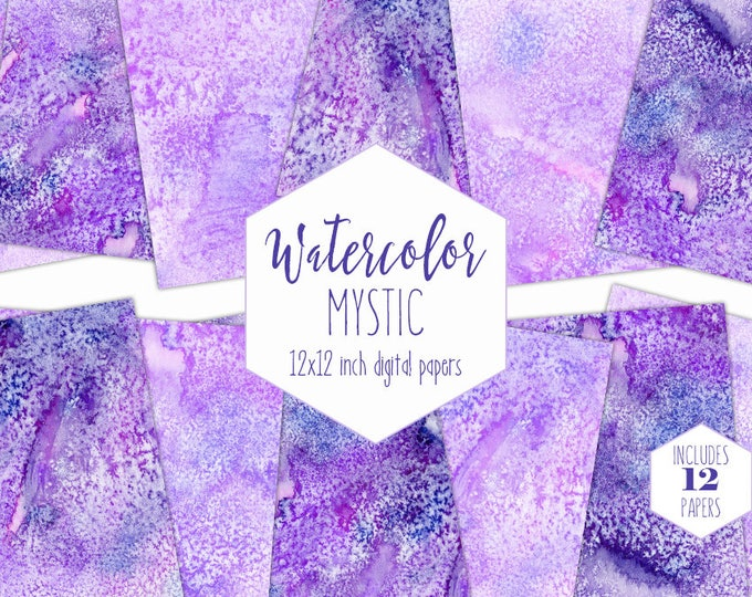AMETHYST PURPLE WATERCOLOR Digital Paper Pack Commercial Use Lavender Backgrounds Moonrock Scrapbook Papers Watercolour Crystal Textures