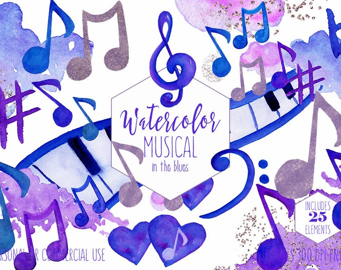 WATERCOLOR MUSIC Clipart Commercial Use Clip Art Royal Blue Purple Music Notes Treble Clef Piano Keys Fun Watercolour Paint Splash Graphics