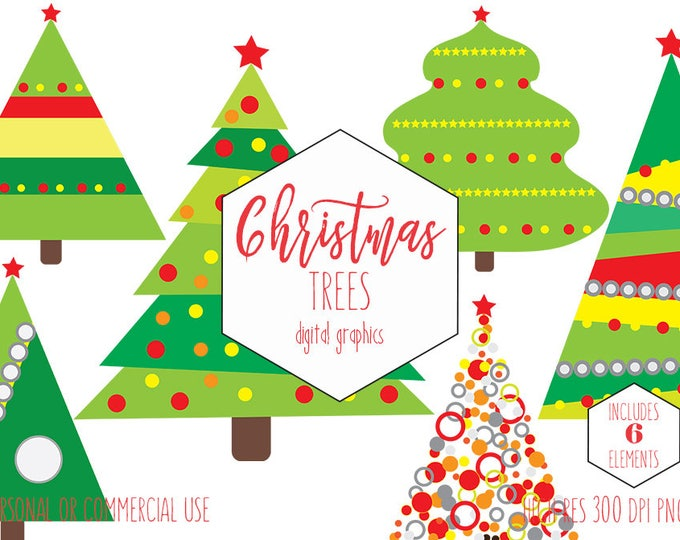 CHRISTMAS TREE Clipart for Commercial Use Cute Holiday Clip Art for Planner Stickers Red & Green Ornaments Tree Invitation Digital Graphics