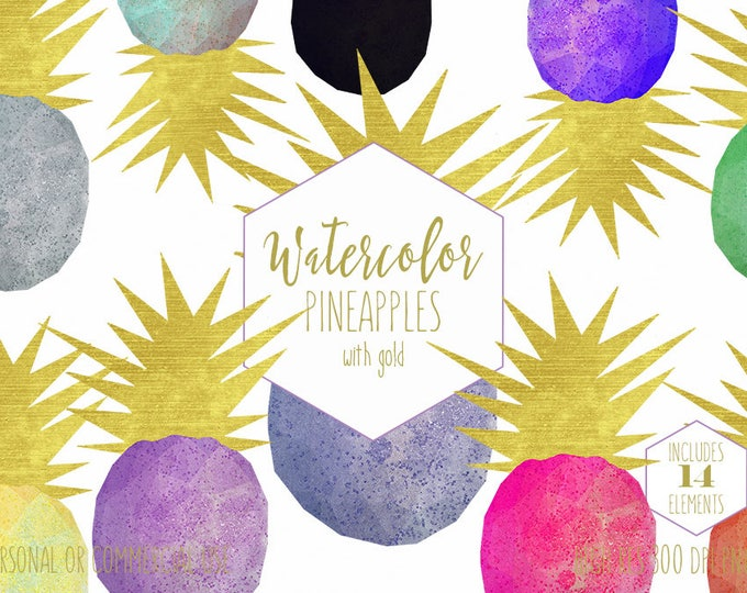 GOLD GEO PINEAPPLE Clipart for Commercial Use Planner Clip Art Geometric Watercolor Pineapple Shapes Gold Foil Tropical Digital Graphics