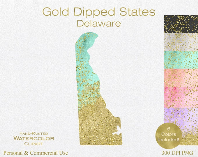 WATERCOLOR & GOLD DELAWARE Clipart Commercial Use Clipart United States Shape Wedding Clipart Gold Confetti Dust Delaware State Clip Art