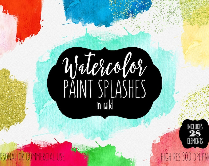 WATERCOLOR BRUSH STROKES Clipart Commercial Use Clip Art Watercolor Paint Splatters Rainbow Gold Confetti Watercolor Textures Logo Graphics
