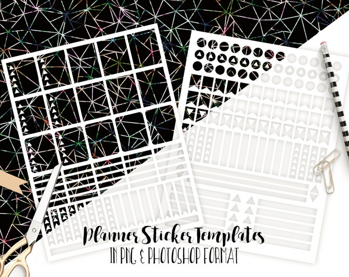 PLANNER STICKER TEMPLATES Personal Use Blank Diy Sticker Sheet Templates Life Planner Digital Stickers Erin Condren Template Photoshop & Png