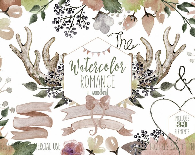 RUSTIC FLORAL WATERCOLOR Clipart Commercial Use Clip Art Romantic Blush Nude Woodland Wedding Boho Flower Bouquets Deer Antlers Backgrounds