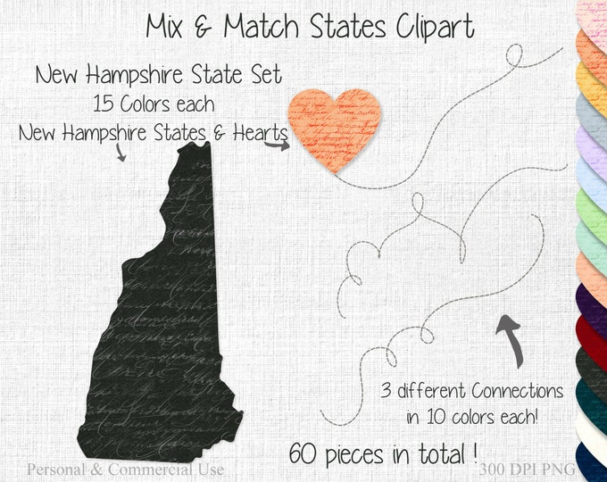 STATE to STATE New Hampshire Wedding Clipart Commercial Use Clipart Mix & Match State New Hampshire Clipart Map Graphic Two State Heart Maps