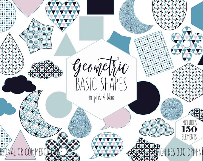 FUN SHAPES CLIPART for Commercial Use Planner Sticker Clip Art Pink & Blue Hearts Clouds Moons Flowers Triangles Stars Kids Digital Graphics