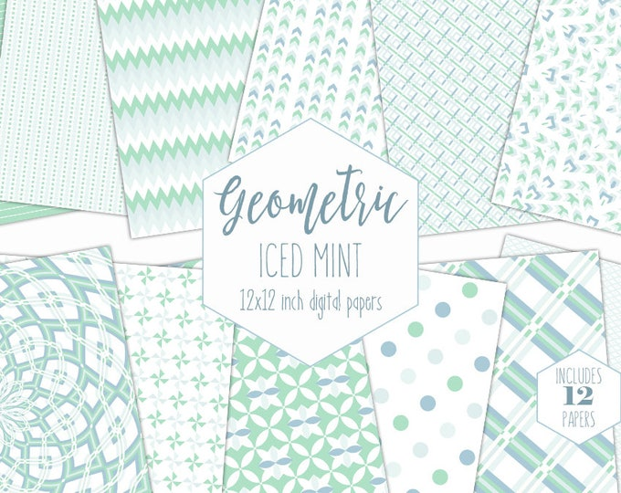 WHITE & MINT Digital Paper Pack Pastel Backgrounds Mandala Scrapbook Paper Dot Arrow Plaid Pattern Party Printable Commercial Use Clipart