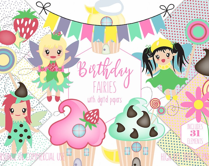 BIRTHDAY CUPCAKE Clipart for Commercial Use Fairy Clip Art Little Girls Bunting Banner Candy Cupcakes Treats Digital Papers Vector Graphics