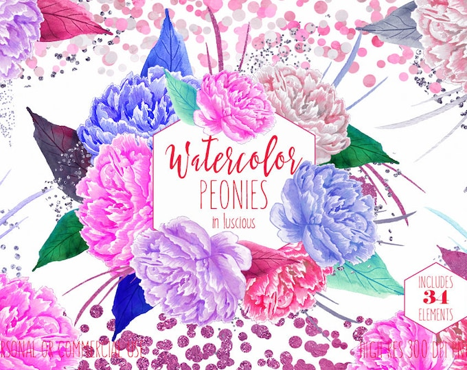 WATERCOLOR PEONY Clipart Commercial Use Clip Art Pink & Purple Peonies Clipart Pink Metallic Confetti Watercolour Floral Wedding Graphics