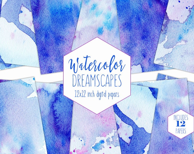 BLUE WATERCOLOR WASH Digital Paper Pack Commercial Use Royal Blue Backgrounds Pink Splatter Paint Scrapbook Papers Real Watercolour Textures