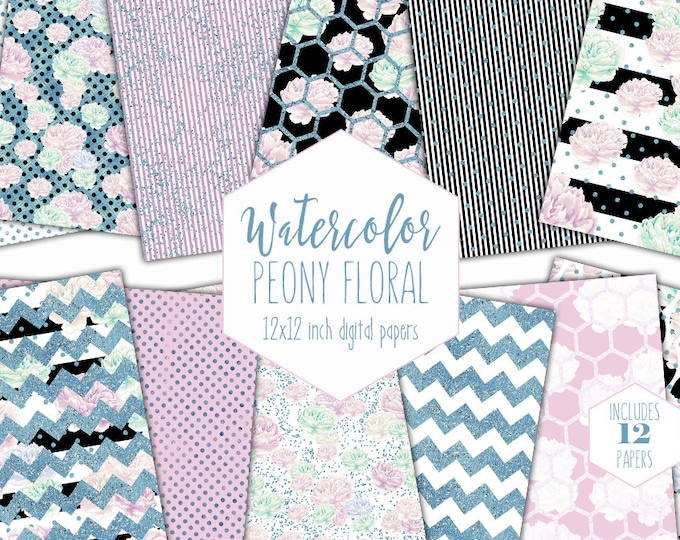LAVENDER PEONY FLORAL Digital Paper Pack Commercial Use Backgrounds Mint Peonies Scrapbook Papers Black Stripe Blue Dot Shabby Chic Patterns