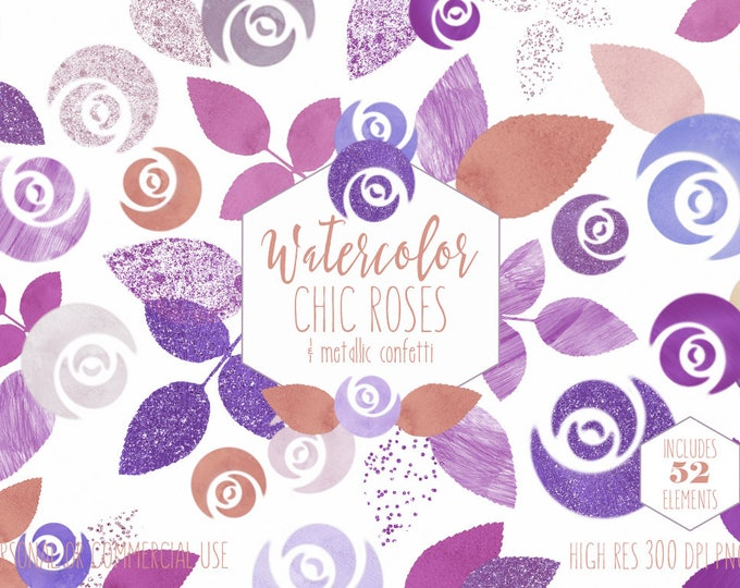 MODERN WATERCOLOR ROSE Clipart Commercial Use Clip Art Purple & Pink Floral with Rose Gold Metallic Confetti Chic Flowers Wedding Graphics