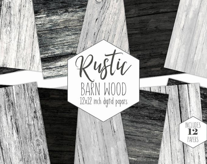 RUSTIC DARK WOOD Digital Paper Pack Black Wood Backgrounds Gray Grunge Wood Grain Scrapbook Paper Barn Wood Textures Party Printable Clipart