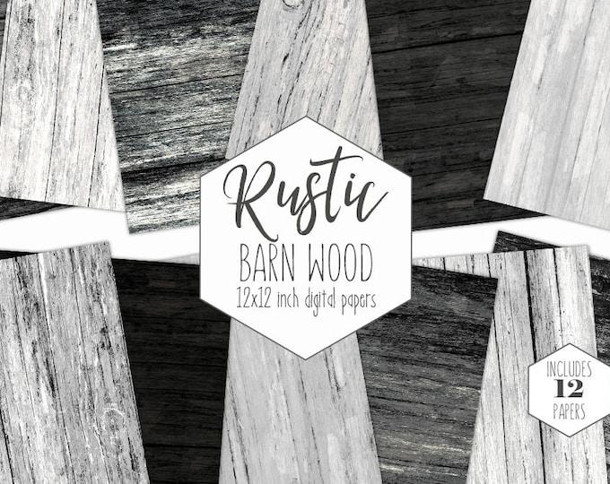 RUSTIC DARK WOOD Digital Paper Pack Black Wood Backgrounds Gray Grunge Wood Grain Scrapbook Paper Barn Wood Textures Party Printable Clipart