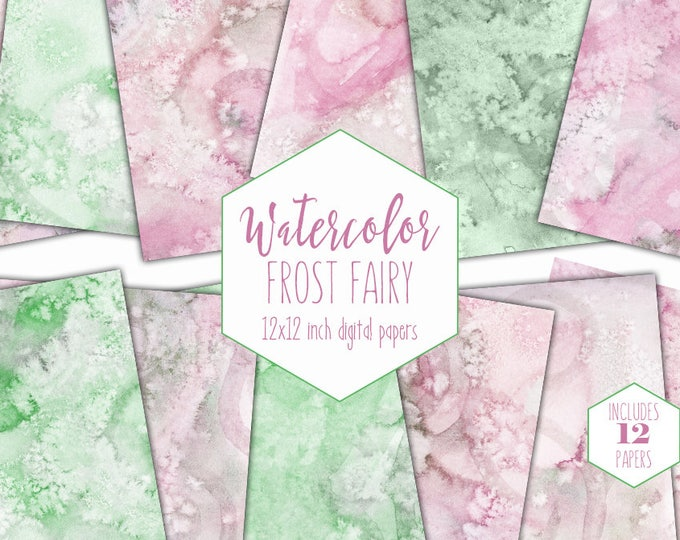PINK & SPRING GREEN Watercolor Digital Paper Pack Commercial Use Backgrounds Scrapbook Papers Frost Fairy Blush Pink Hand Painted Watercolor