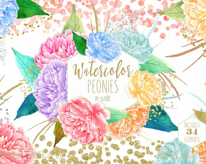 WATERCOLOR FLORAL Clipart Commercial Use Clip Art Chic Peach Pink Peonies Clipart Gold Confetti Watercolor Flower Wedding Invite Graphics