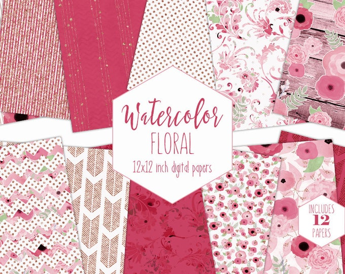 PINK WATERCOLOR FLORAL Digital Paper Pack Commercial Use Backgrounds Wood Flowers Scrapbook Patterns Bohemian Boho Wedding Digital Papers