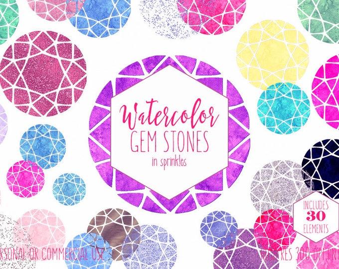 WATERCOLOR GEM STONE Clipart Commercial Use Clip Art Metallic Glitter Gemstones Pink Blue Purple Confetti Diamond Rhinestone Gem Graphics
