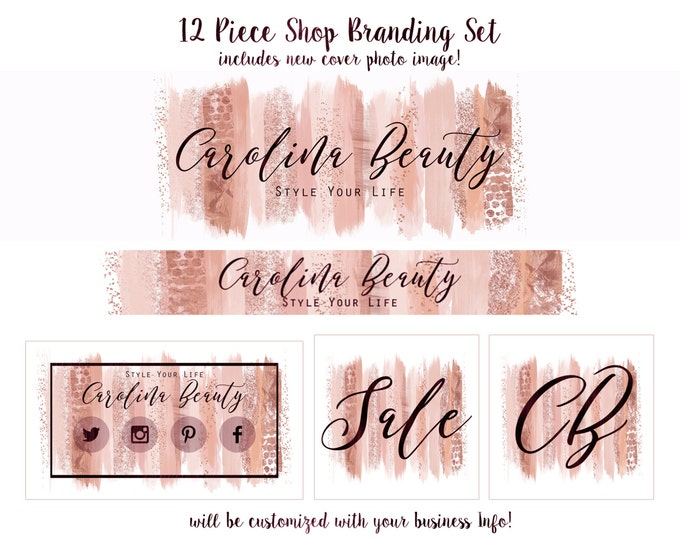 Rose Gold WATERCOLOR PAINT STROKES Business Branding Set Choose Your Font- Cover Photo Etsy Shop Set Banner Logo Business Card Pink Shop Set
