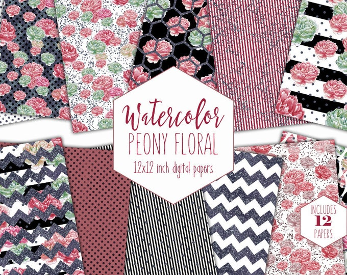 MARSALA WATERCOLOR FLORAL Digital Paper Pack Commercial Use Peony Backgrounds Peonies Scrapbook Paper Stripe Dot Shabby Chic Flower Patterns