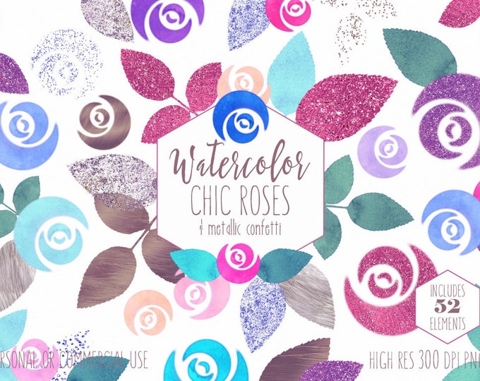 WATERCOLOR FLORAL Clipart Commercial Use Clip Art Pink & Rose Gold Metallic Chic Roses with Confetti Flowers Wedding Invitation Graphics