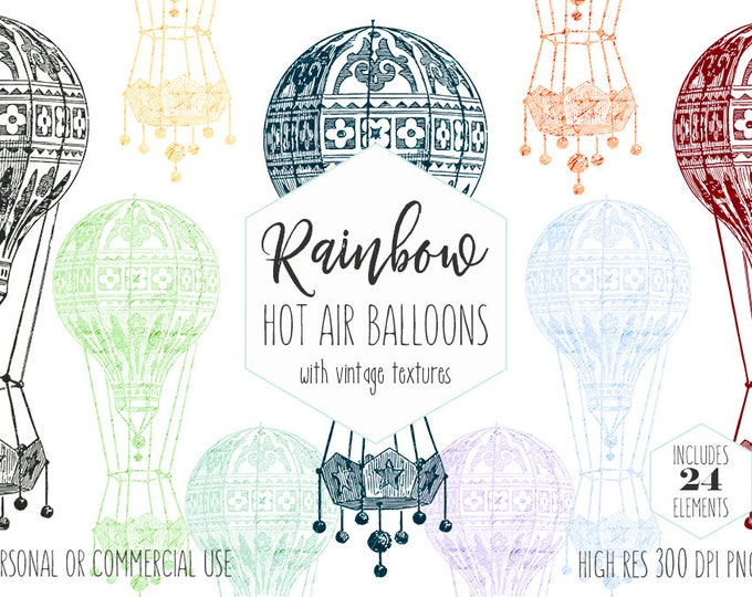 HOT AIR BALLOON Clipart for Commercial Use Clip Art Vintage Texture Hot Air Balloon Airship Images Rainbow Colors Digital Graphics for Kids