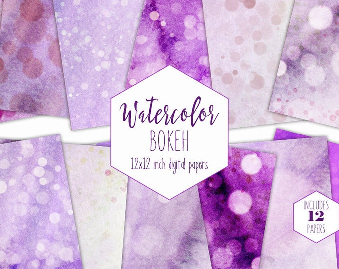 ULTRA VIOLET WATERCOLOR Digital Paper Pack Commercial Use Backgrounds Purple Bokeh Scrapbook Papers Dots Hand Painted Watercolour Textures