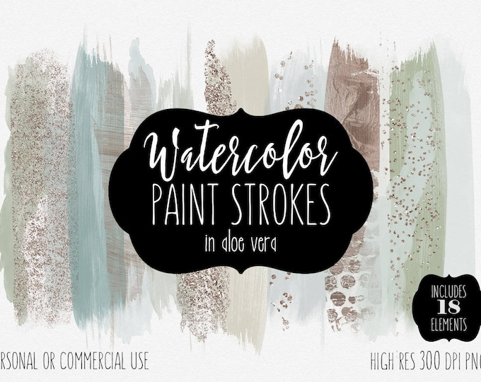 MINT WATERCOLOR BRUSH Strokes Clipart Commercial Use Clip Art Watercolor Paint Strokes Shop Banner Rose Gold Confetti Logo Design Graphics