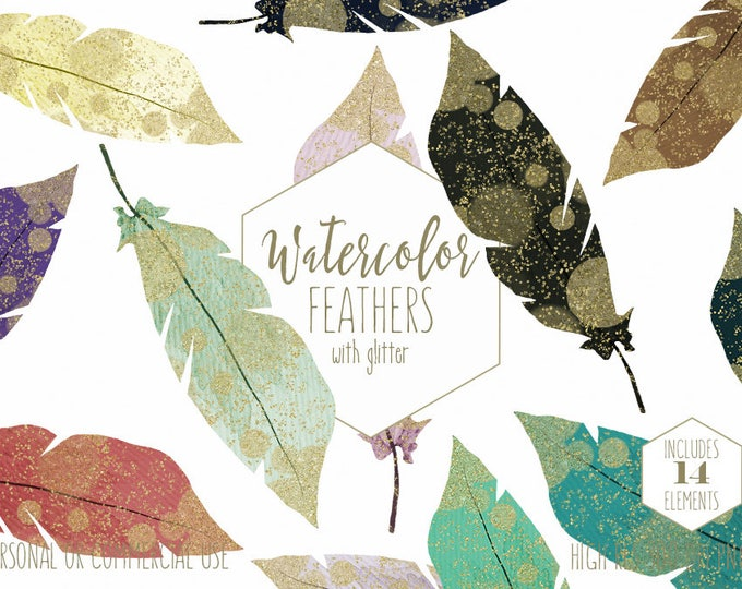GOLD & WATERCOLOR FEATHER Clipart Commercial Use Clip Art Bohemian Tribal Images Gold Metallic Confetti Feathers Boho Chic Digital Graphics