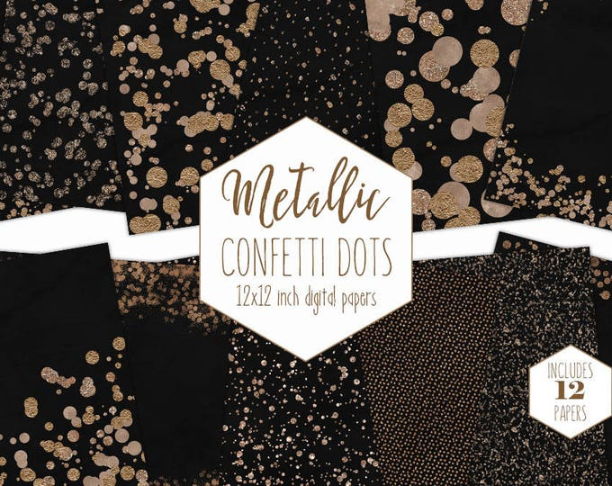 ROSE GOLD FOIL & Black Digital Paper Pack Confetti Backgrounds Metallic Scrapbook Papers Wedding Patterns Dot Party Printable Commercial Use