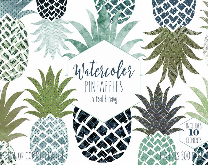 TROPICAL WATERCOLOR Clipart Commercial Use Clip Art Fun Pineapples Clipart Teal & Navy Blue Metallic Glitter Planner Sticker Graphics