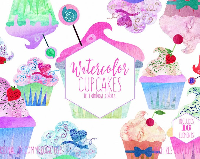 CUTE WATERCOLOR CUPCAKE Clipart Commercial Use Clip Art Watercolour Cupcakes Birthday Party Clipart Fun Desserts Planner Sticker Graphics