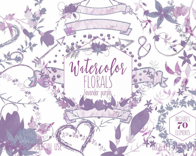 PURPLE WATERCOLOR FLORAL Clipart Commercial Use Clip Art Wedding Graphics Lavender Metallic Flower Bouquets Floral Wreaths Banners Arrows
