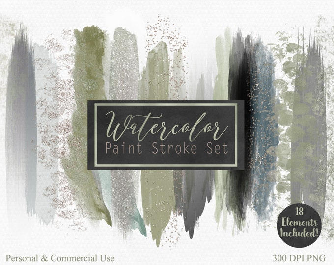 GREEN WATERCOLOR PAINT Strokes Clip Art Commercial Use Clipart Watercolour Blog Headers Sage Gray Gold Confetti Rectangles Logo Graphics