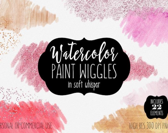 PINK WATERCOLOR BRUSH Strokes Clipart Commercial Use Clip Art 22 Watercolor Paint Stroke Blush Peach Salmon Rose Gold Confetti Logo Graphics