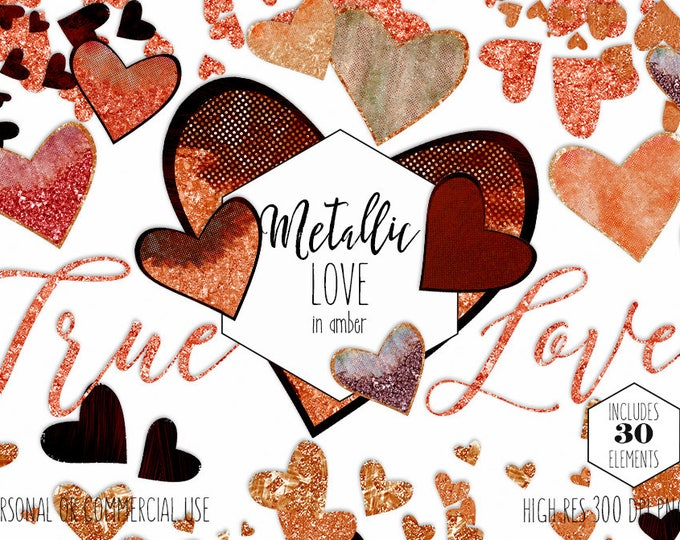 PEACH AMBER HEART Clipart Commercial Use Clip Art True Love Valentine's Day Copper Metallic Glitter Coral Romantic Confetti Wedding Graphics