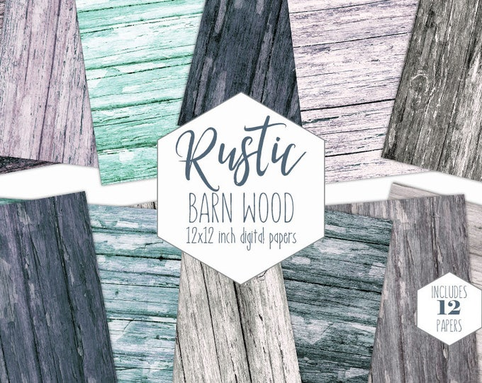 RUSTIC GRAY WOOD Digital Paper Pack Painted Wood Backgrounds Barn Wood Scrapbook Papers Wood Grain Textures Printable Wooden Board Images