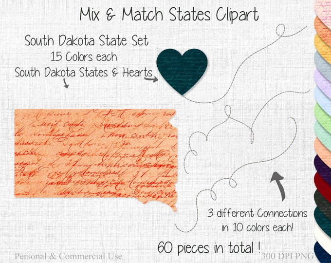 SOUTH DAKOTA STATE Clipart Commercial Use Clipart Mix & Match States Home Town Clipart South Dakota Map State to State South Dakota Clipart