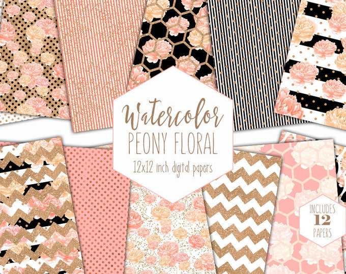 PEACH WATERCOLOR FLORAL Digital Paper Pack Commercial Use Peony Flower Backgrounds Metallic Gold Scrapbook Paper Black White Stripe Patterns