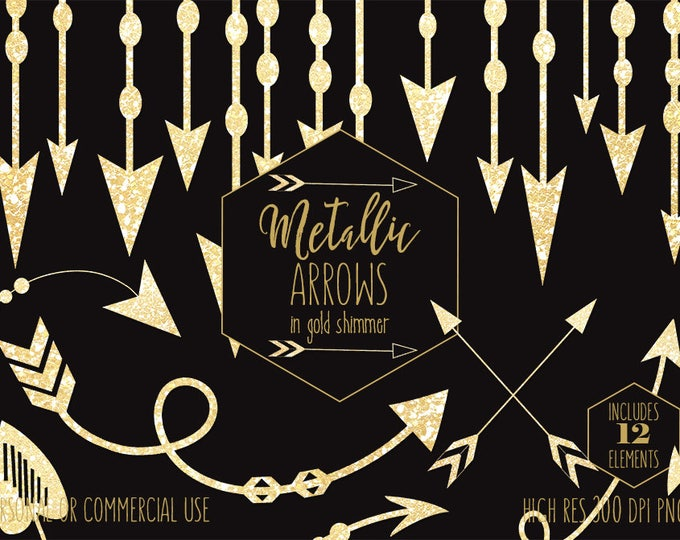 GOLD ARROW CLIPART for Commercial Use Clip Art Metallic Glitter Arrows Boho Wedding Arrow Banner Frame Border Invitation Digital Graphics