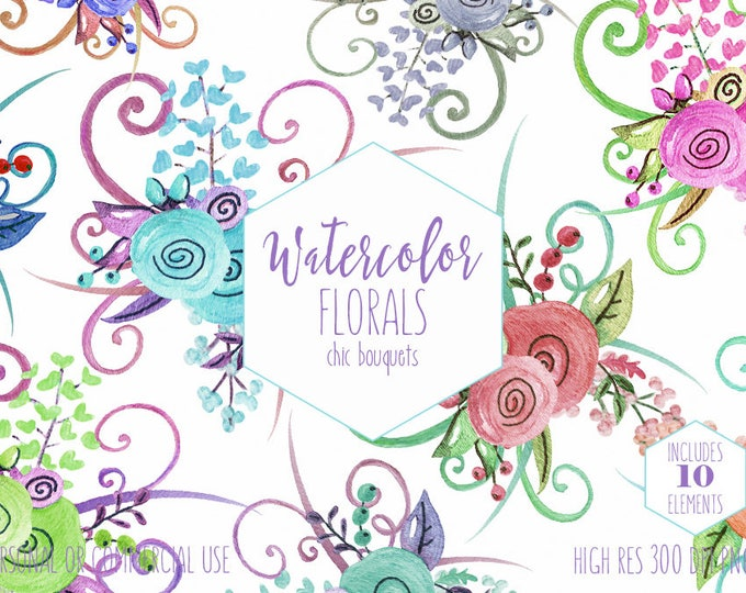 WATERCOLOR FLORAL BOUQUETS Clipart Commercial Use Clip Art 10 Chic Modern Watercolor Flower Arrangements Cute Wedding Invitation Graphics