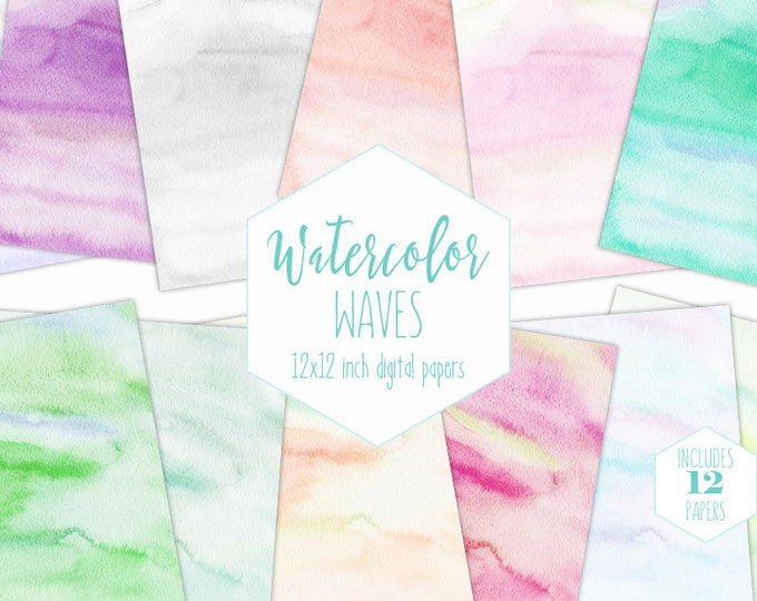 WATERCOLOR DIGITAL PAPER Pack Commercial Use Clipart Pastel Backgrounds Rainbow Watercolor Baby Scrapbook Papers Watercolour Wash Textures