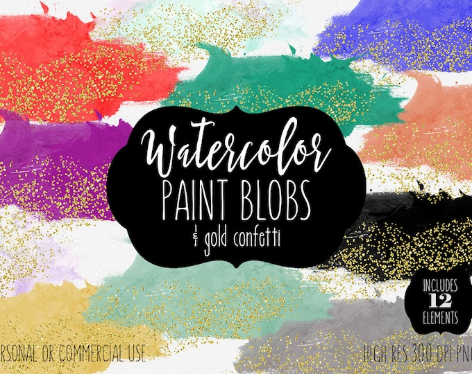 CONFETTI BRUSH STROKES Clipart Commercial Use Clip Art 12 Watercolor Paint Splotch Gold Confetti Graphics Watercolor Brushes for Logo Design