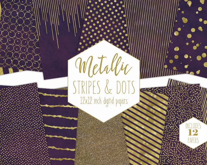 PURPLE & GOLD FOIL Digital Paper Pack Stripe Backgrounds Metallic Confetti Scrapbook Paper Polka Dot Wedding Pattern Party Printable Clipart