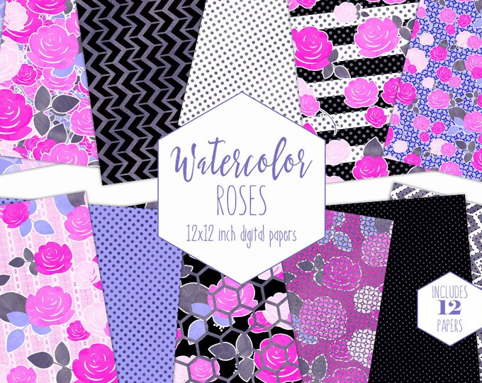CHIC WATERCOLOR ROSE Digital Paper Pack Black White Stripe Backgrounds Pink & Purple Metallic Commercial Use Scrapbook Paper Floral Patterns