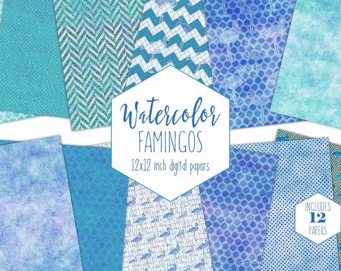 ROYAL BLUE FLAMINGO Watercolor Digital Paper Pack Commercial Use Backgrounds Tropical Scrapbook Papers Teal Ocean Beach Watercolour Patterns